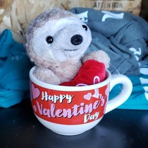 Valentines day sloth coffee mug and stuffie